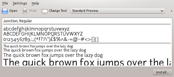 screenshot of the font viewer window