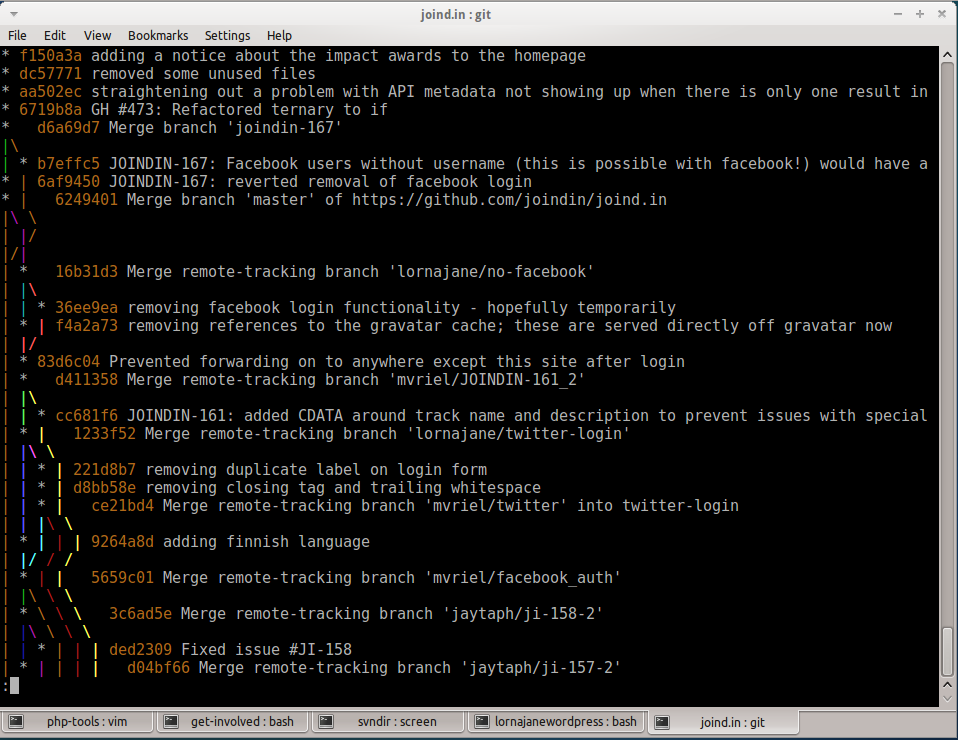 Git Log with --graph and --oneline