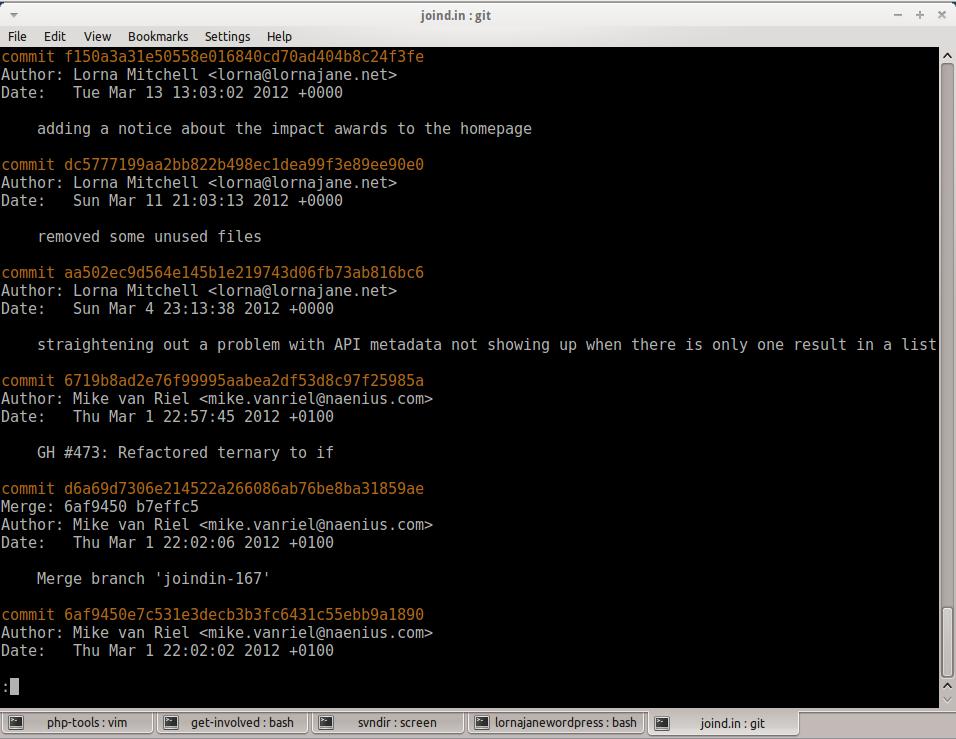 Output of git log command