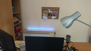 webcam's eye view, showing radiator, shelf with blue lights, and pinboard above